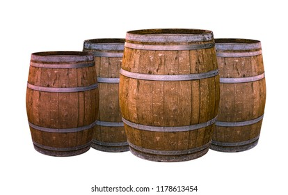 old oak barrel aging wines flavoring flavor natural material winemaking group of large tiny white background