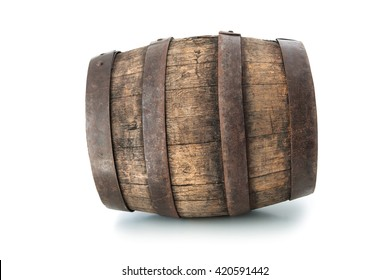 Old oak barrel isolated on white background