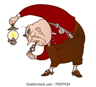 old obese man with an oil lamp in his hand