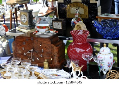 old objects for sale at a flea market