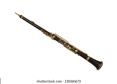 Old oboe on a white background