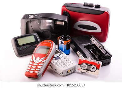 old obsolete items collected in a group on white background