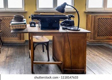 Old office desk 1940's. Original office used by Oskar Schindler secretary to write the Oskar Schindler's list