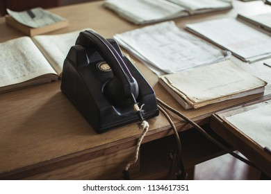 Old office desk with vintage phone