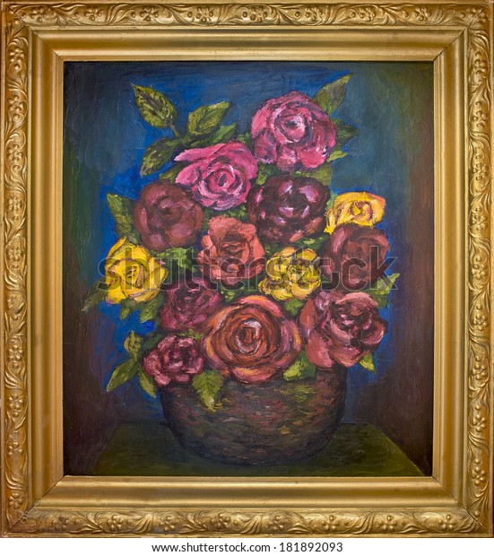 Old oil painting still life of red roses in a golden frame