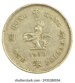 Old One Hong Kong Dollar of 1980 close up
