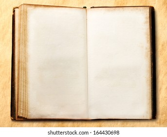 Old open blank book on stained background