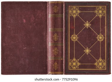 Old open book - beautiful burgundy red canvas cover with abstract golden decorations (circa 1889), isolated on white, perfect in detail - XL size