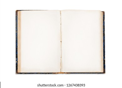 Old open book with blank pages. Isolated on white, clipping path included