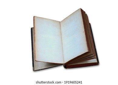 Old open book with blank pages cutout on white background