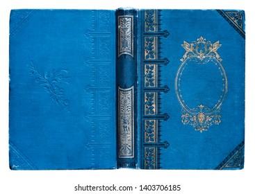 Old open book cover with embossed golden abstract pattern and floral decorations isolate on white background. Abstract vintage decorations 19th century.