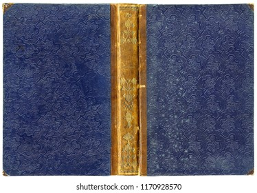 Old open book cover with leather spine, golden floral ornaments and unusual abstract embossed pattern on paper (circa 1850), isolated on white - perfect in detail! - XL size
