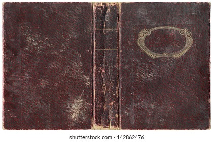 Old open book in crimson textured worn paper cover - circa 1918 - with rounded golden decorative frame, isolated on white, perfect in detail! - XL size