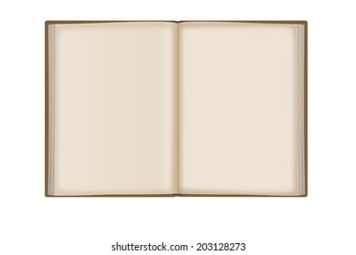 Old open book isolated on white background.