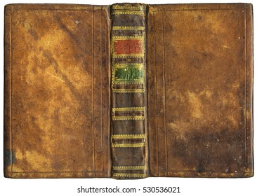 Old open book - leather cover with golden embossed ornaments on spine - circa 1776 - perfect in detail! - XL size