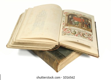 old open book with picture with books