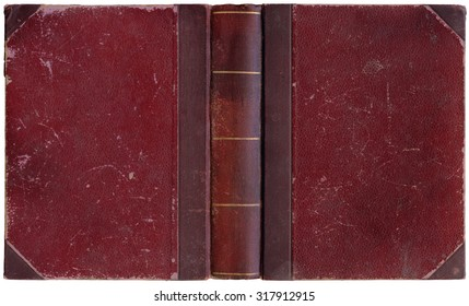 Old open book in simple crimson red canvas and paper cover with golden decorations - circa 1900 - interesting details! - XL size