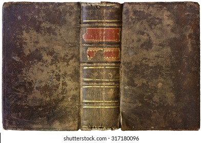 Old open book - worn brown leather cover with thick spine and abstract golden decorations - circa 1750 - isolated on white