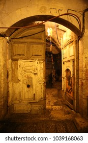 Old open doors in old city Jerusalem at night