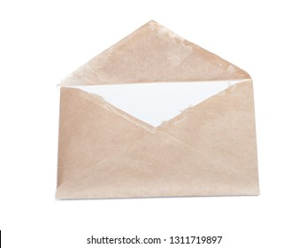 Old open envelope isolated on white background