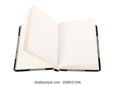 old open notebook on white background