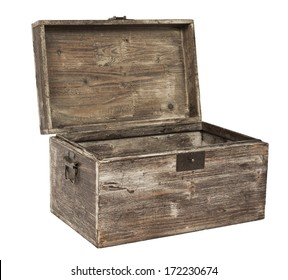 old open wooden chest is isolated on white