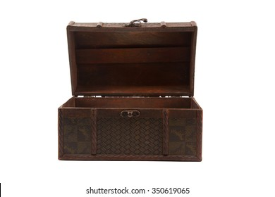 old open wooden chest on white background