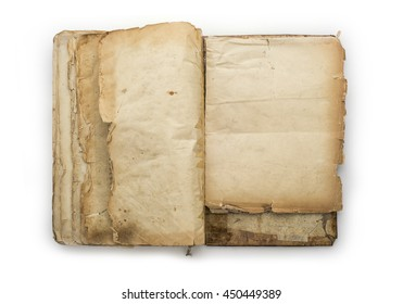 Old opened book isolated on a white background