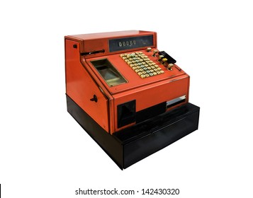 Old orange cash register from the seventies.