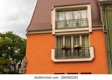 old orange house in the city
