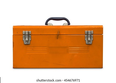 Old orange steel toolbox, isolated on white background with clipping path