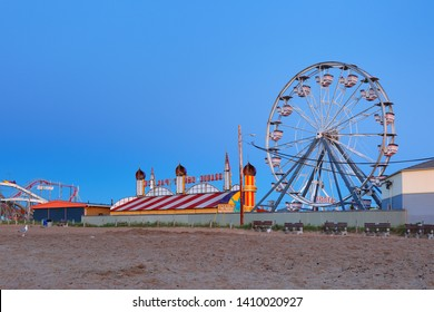 Old Orchard Beach, Maine USA - May 26, 2019: The Palace Playland in Old Orchard Beach, Maine before sunrise. The park is a seasonal amusement park located at Old Orchard Beach Maine.
