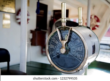 old ordering control signal to engine room of boat for boating on water classic style. vintage technology of boating to communication in marine team from captan to control movement to engine room.