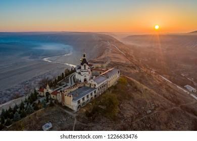 Old Orhei Monastery in Moldova sunrise panorama