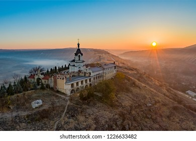Old Orhei Monastery in Moldova sunrise panorama