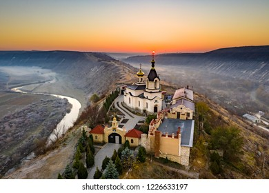 Old Orhei Monastery at sunrise in Moldova Republic