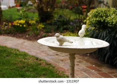 An old ornamental bird-bath in a garden