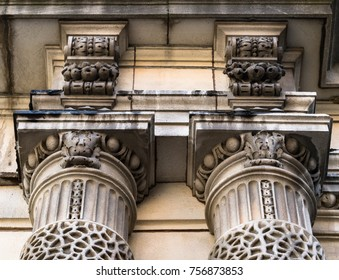 Old ornamental columns, low angle view. The Canadian city is famous for the vintage architecture of many buildings preserved