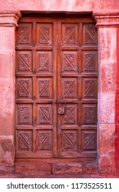 Old ornate colonial door in Arequipa, Peru