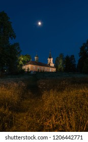 Old Orthodox church at Podlachia. Old Orthodox church by night. Mostowlany, Podlachia. Wooden Uniate Orthodox church in Poland from 1863.