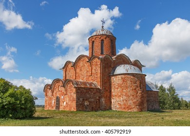 Old Orthodox Church of the Savior on Kovalev on the outskirts of Novgorod the Great on a summer day