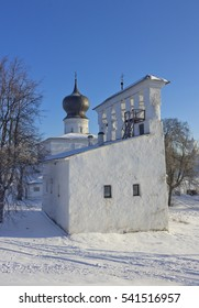 Old orthodox church with typical medieval Pskov bell tower on the foreground in Pskov, Russia