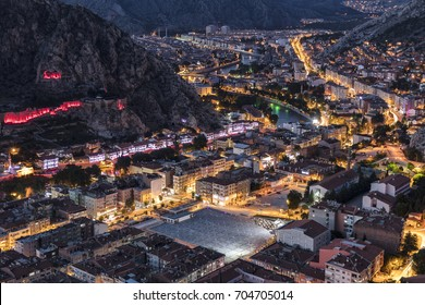 Old Ottoman houses evening panoramic view by the Yesilirmak River in Amasya City. Amasya is populer tourist destination in Turkey. Amasya City, Turkey
