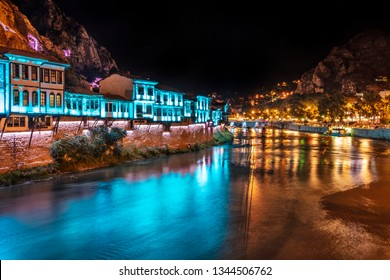 Old Ottoman houses night by the Yesilirmak River in Amasya City. Amasya is popular tourist destination in Turkey.