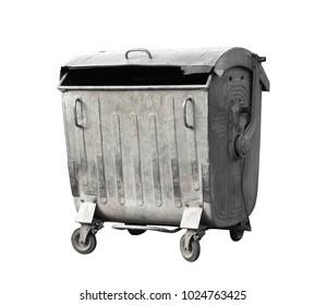 Old outdoor garbage bin on white