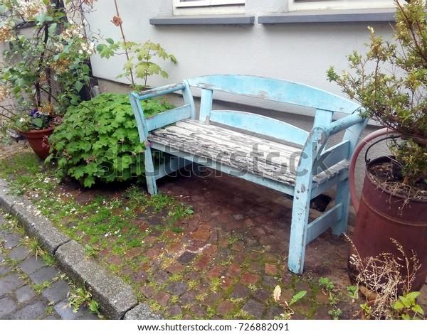 Excellent Old Outdoor Wooden Bench Blue Peeling Vintage Parks Machost Co Dining Chair Design Ideas Machostcouk