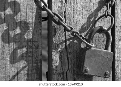 Old padlock with chain black and white photograph