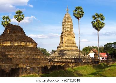 Old pagoda Wat Phra Si Ratanamahathat temple  in Sisatchanalai Historical Park, Sukhothai province Thailand
