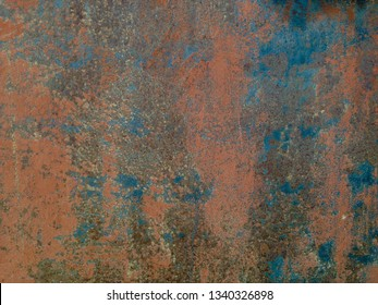 Old paint on metal, paint layer and primer, cool texture mixture with rust.