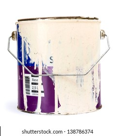 Old paint tin isolated on white